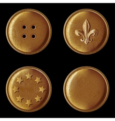 set of vintage bronze buttons vector image vector image
