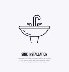 sink toilet flat line icon ceramic washbowl with vector image