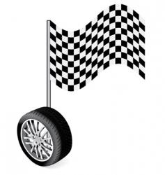 wheel with racing flag vector image