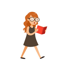 cute nerd girl walking and reading book pupil vector image
