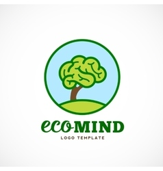 Eco Mind Abstract Logo Template Brain Tree vector image
