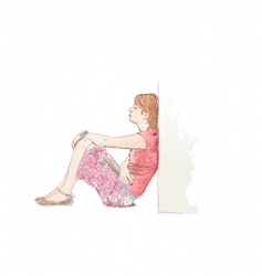 lonely woman vector image vector image