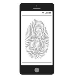 Scanning of the fingerprint on the mobile phone vector