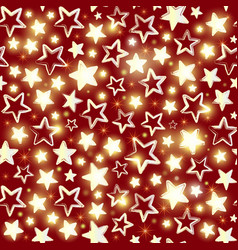 seamless pattern with shining stars on red vector image