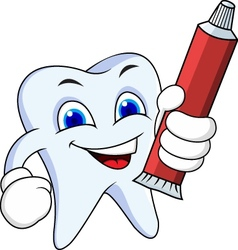Tooth cartoon with tooth paste vector image vector image