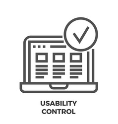 usability control line icon vector image vector image