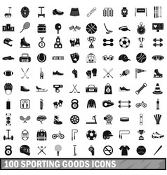 100 sporting goods icons set simple style vector