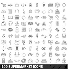 100 supermarket icons set outline style vector
