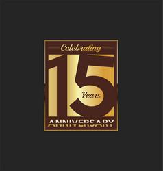 15 years anniversary golden design background vector