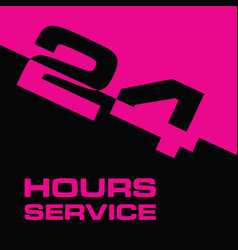24 hour service icon in pink and black color vector image