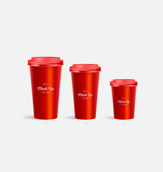3 red coffee cups mockup on red background vector