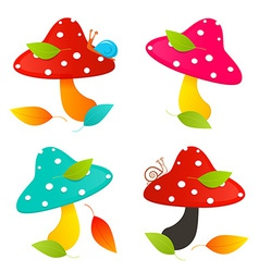 Amanita Mushroom Set - Colorful vector image