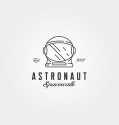 Astronaut helmet head logo line art symbol design vector