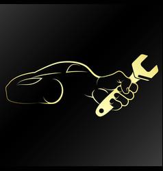 Auto repair symbol golden vector