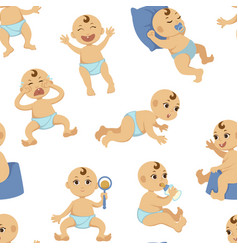 Baby with range of emotions newborn infant vector