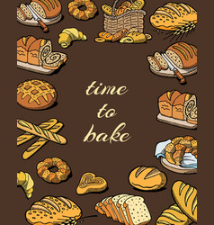 Bakery and baking pastry wheat and rye poster with vector