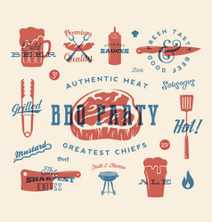 Barbecue party retro signs and icons vector