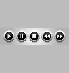 black metallic music control buttons set vector image