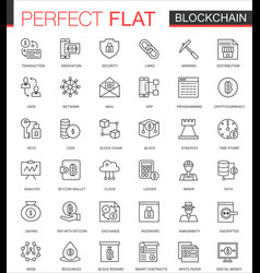 Blockchain bitcoin cryptocurrency thin line web vector