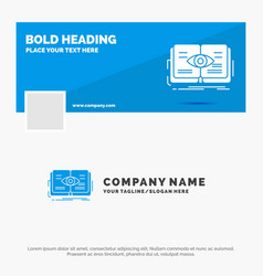 blue business logo template for knowledge book vector image
