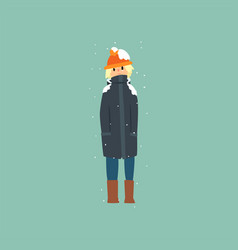 Boy in warm clothes freezing and shivering on vector