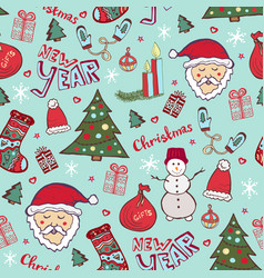 bright christmas pattern new year cute doodle vector image