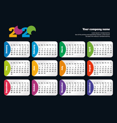bright modern horizontal calendar template for vector image