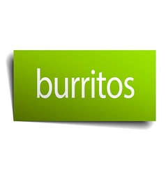 burritos green paper sign on white background vector image