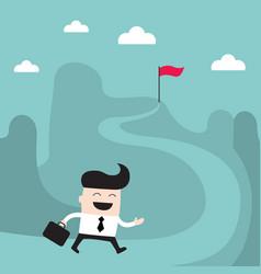 businessman goes to the goal success achievement vector image