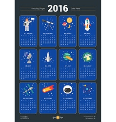 Calendar for 2016 Year with Space Icons and on vector