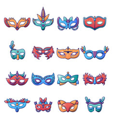 carnival mask venetian icons set cartoon style vector image