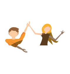 Cartoon couple dancing cheerful vector
