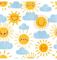 Cartoon sun seamless pattern print for nursery vector