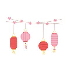 chinese lantern flowers decoration celebraton vector image