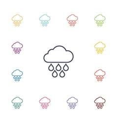 Cloud rain flat icons set vector