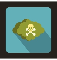 Coud with skull and bones icon flat style vector image