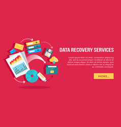 Data recovery services set of concept flat icons vector