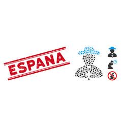 Distress espana line seal with collage priest icon vector