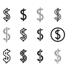 Dollars sign icon set dollar logo template vector