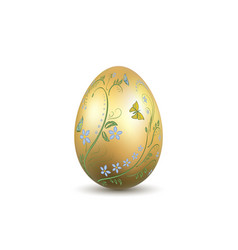 easter egg 3d icon gold shine egg isolated white vector image