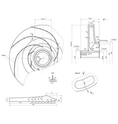 expanded sketch of engineering wheel with blades vector image