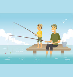 father and son fishing - cartoon people characters vector image
