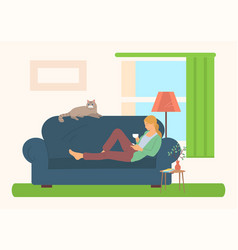 female reading literature on sofa hob vector image