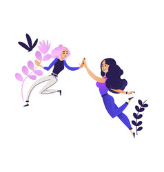 flat women giving high five vector image