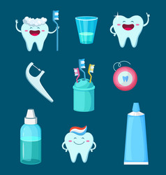 funny characters cartoon teeth with vector image