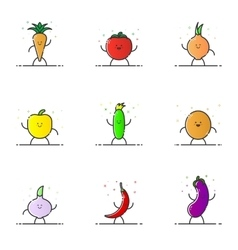 Funny vegetable characters vector