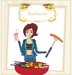 Girl barbecuing meat vector
