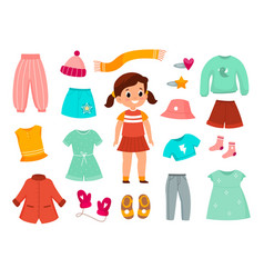 Girl clothes childish female fashionable apparel vector