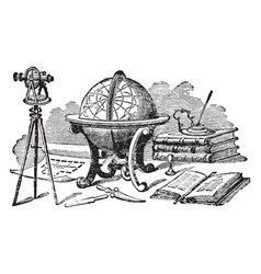 Globe or multiple instruments used for navigation vector