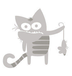 gray cat had just caught a mouse vector image